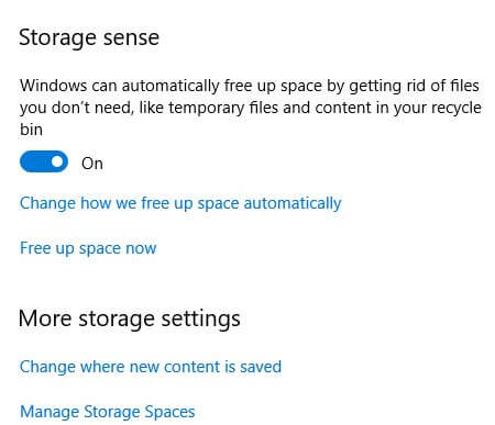 Windows 10 storage sense settings change