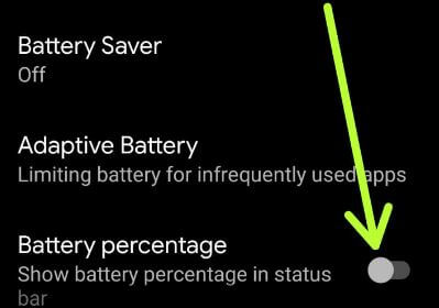 Enable battery percentage on Android 10