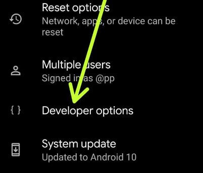 Enable developer options in Android 10