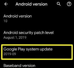 Google play system update settings Android Q Beta 6