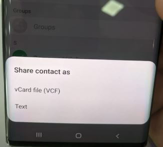 Share contacts on Galaxy Note 10 Plus