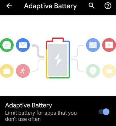 Use adaptive battery in Android 10 device
