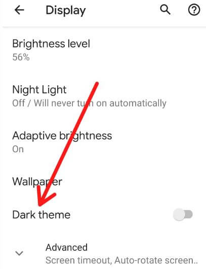 Use dark mode in android 10