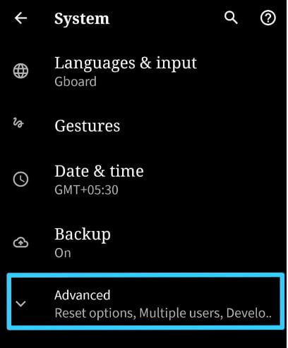 Advanced settings for network reset in Android 10