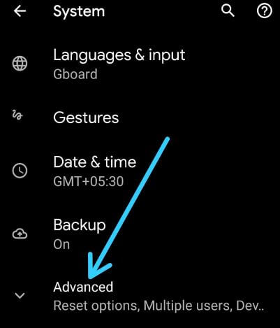 Advanced settings in Android 10