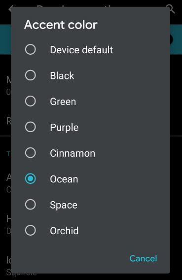 Android 10 features accent colors