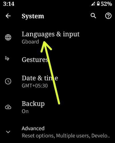 Android 10 langauges and input settings for change keyboard language