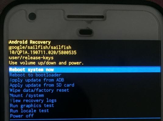 Android 10 recovery menu