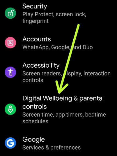 Digital Wellbeing and Parental controls settings on Android 10