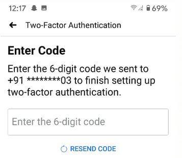 Facebook 2 factor authentication