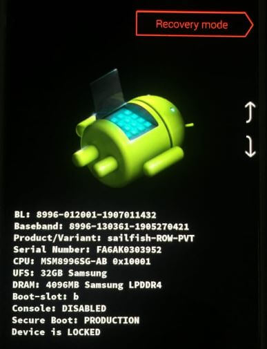 Factory reset Android 10 using recovery mode
