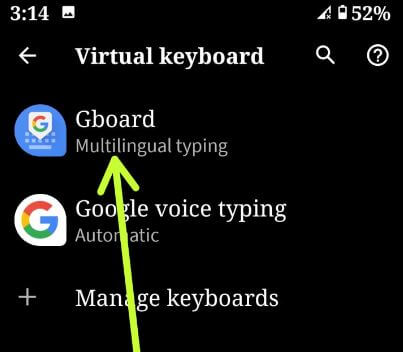 Gboard keyboard settings in Android 10 OS
