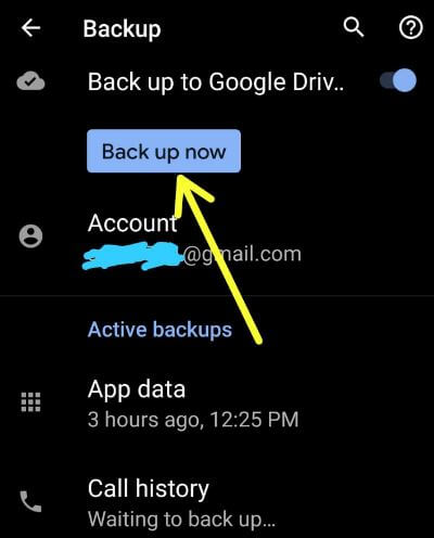 How to backup data in Android 10