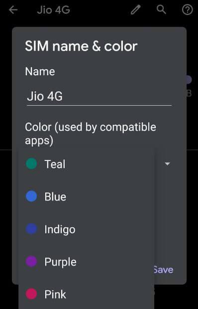 How to change SIM name and color in Android 10