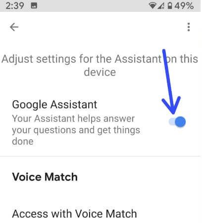 How to turn off Google Assistant Android 9