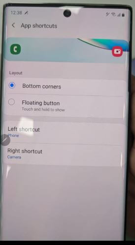 Lock screen app shortcut Note 10 plus