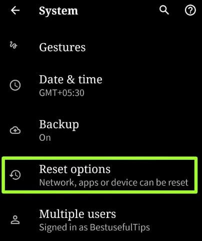 Network reset settings in Android 10