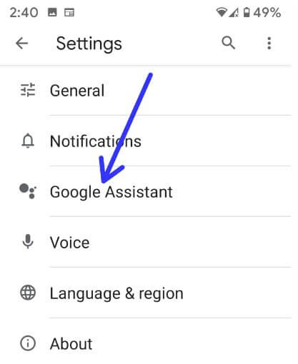 Open Google assistant in your android 9 and 10