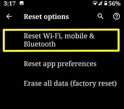 Reset network settings Android 10
