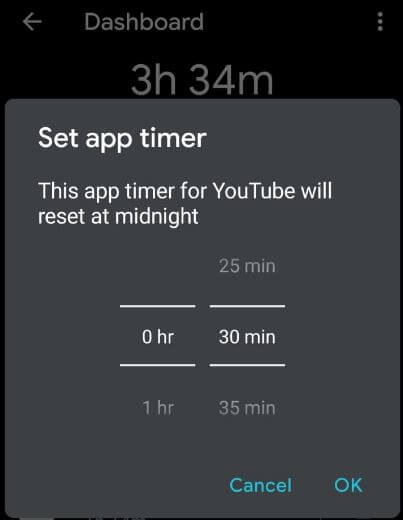 Set timer on Android 10 devices