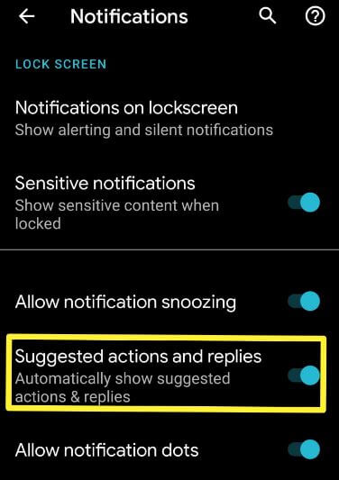 Suggest actions and replies android 10 features