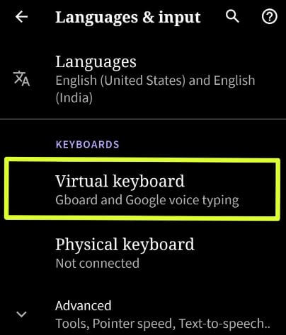 Virtual keyboard settings in Android 10 devices