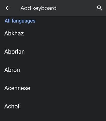 change keyboard language in Android 10