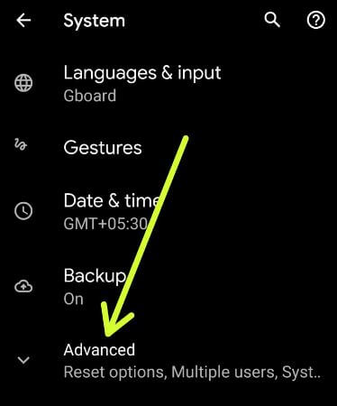 Advanced settings for reset Pixel 4 XL device