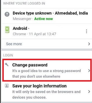 Change the Facebook Password using Facebook Messenger App on your Android