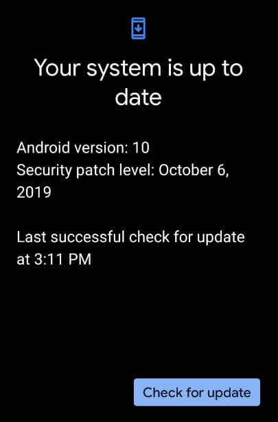 Check for system updates on Pixel 4