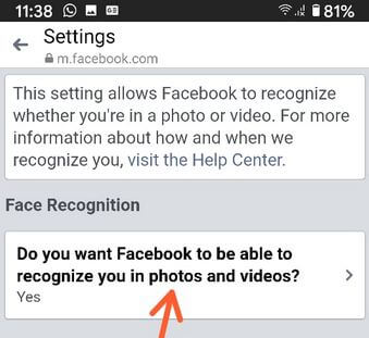 Disable Facebook Face Recognition on Messenger App Android