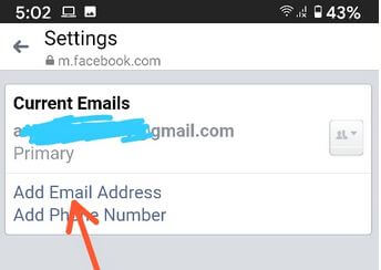 How to change the primary email on Facebook on Android