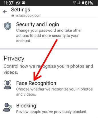 Turn Off Face Recognition on Facebook Android