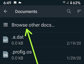 Browse data for send picture as doc in WhatsApp