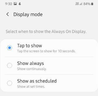Change A50 always on display settings