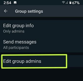 Change group admin in WhatsApp Android
