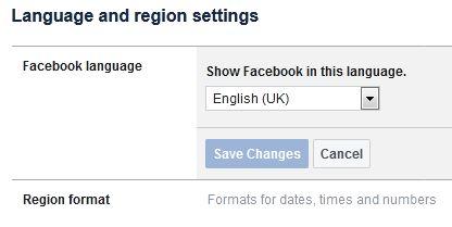 Change language on Facebook using PC or Laptop