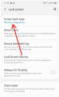 Change lock screen security in Galaxy A50