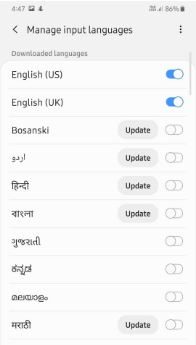 Change the keyboard language on Samsung Galaxy A50