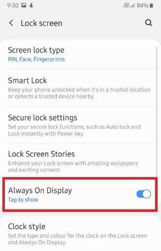 Enable always on display on Samsung galaxy A50