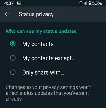 How to Change Who Can See My WhatsApp Status Updates on Android phone