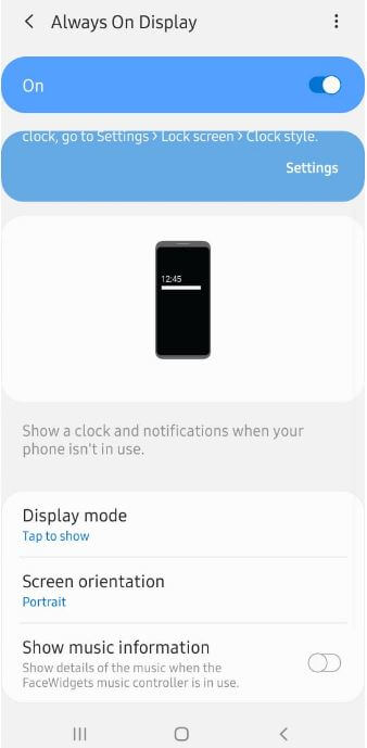 How to customize Galaxy A50 Always on display