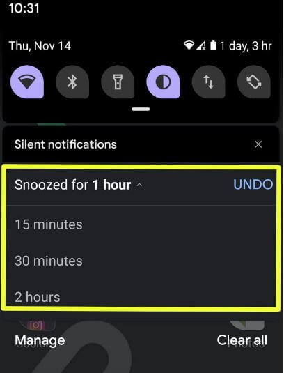 How to snoozing notification in Android 10