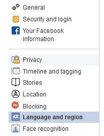 Language and region settings Facebook
