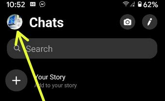 Tap Facebook messenger app Profile icon on your Android