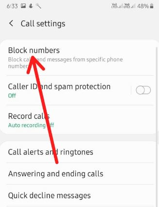 Block a number on Samsung A50