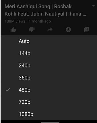 Change the Video Quality on YouTube Android phone and tablet