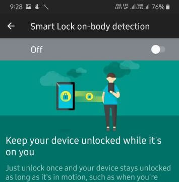 Use Smart lock on body detection galaxy A50