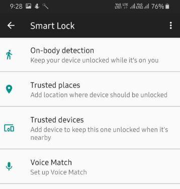 enable and use Samsung A50 Smart Lock