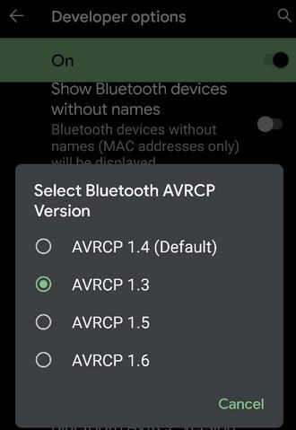Change Bluetooth ACRCP Version to fix Android Pie Bluetooth issue